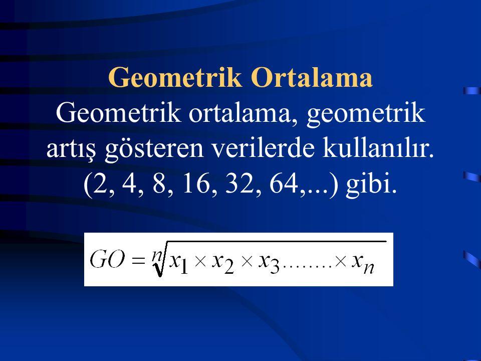Geometrik Ortalama Geometrik ortalama, geometrik artış gösteren verilerde kullanılır.