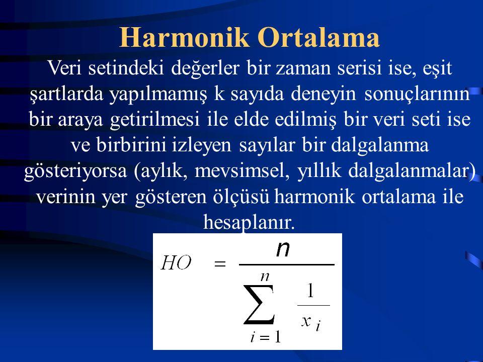 Harmonik Ortalama Veri setindeki değerler bir zaman serisi ise, eşit şartlarda yapılmamış k sayıda deneyin sonuçlarının bir araya getirilmesi ile elde edilmiş bir veri seti ise ve birbirini izleyen sayılar bir dalgalanma gösteriyorsa (aylık, mevsimsel, yıllık dalgalanmalar) verinin yer gösteren ölçüsü harmonik ortalama ile hesaplanır.