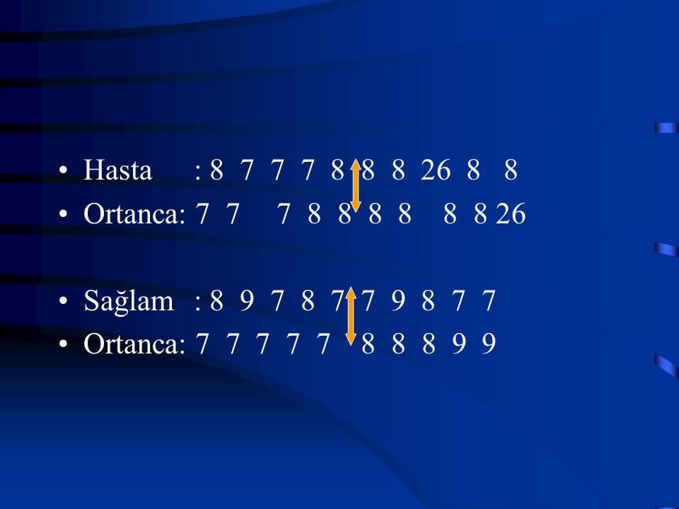 Hasta : 8 7 7 7 8 8 8 26 8 8 Ortanca: 7 7 7 8 8 8 8 8 8 26. Sağlam : 8 9 7 8 7 7 9 8 7 7.