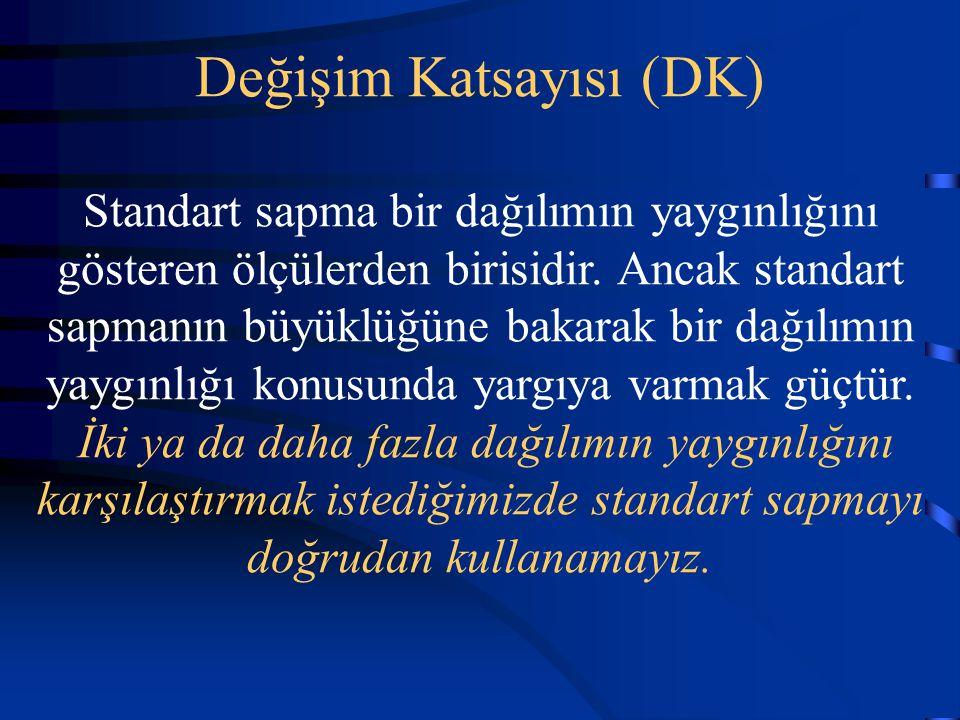 Değişim Katsayısı (DK) Standart sapma bir dağılımın yaygınlığını gösteren ölçülerden birisidir.