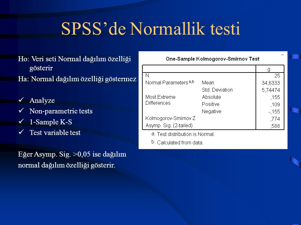 SPSS'de Normallik testi