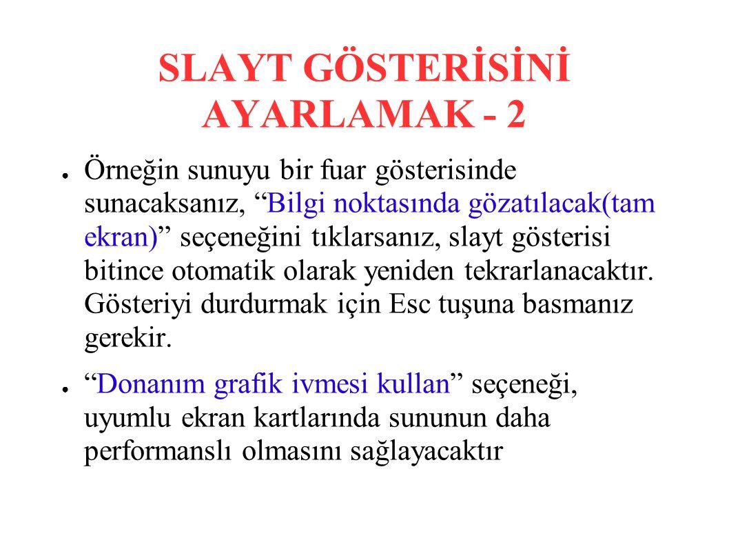 SLAYT GÖSTERİSİNİ AYARLAMAK - 2