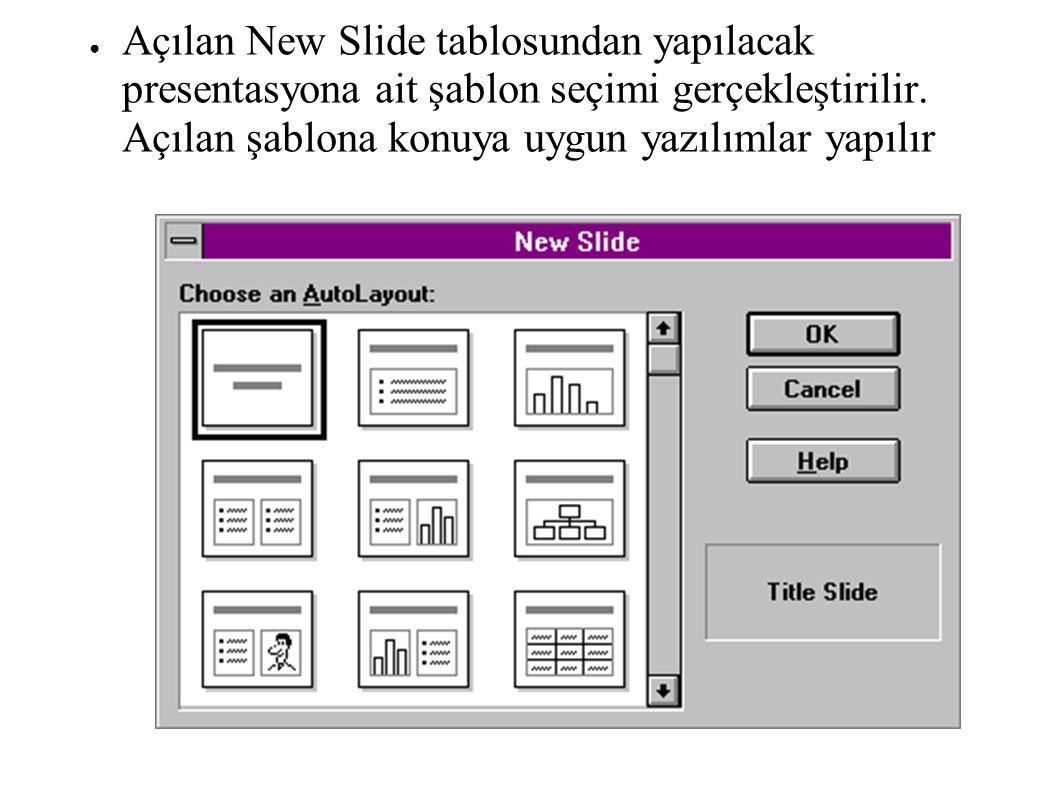 Açılan New Slide tablosundan yapılacak presentasyona ait şablon seçimi gerçekleştirilir.