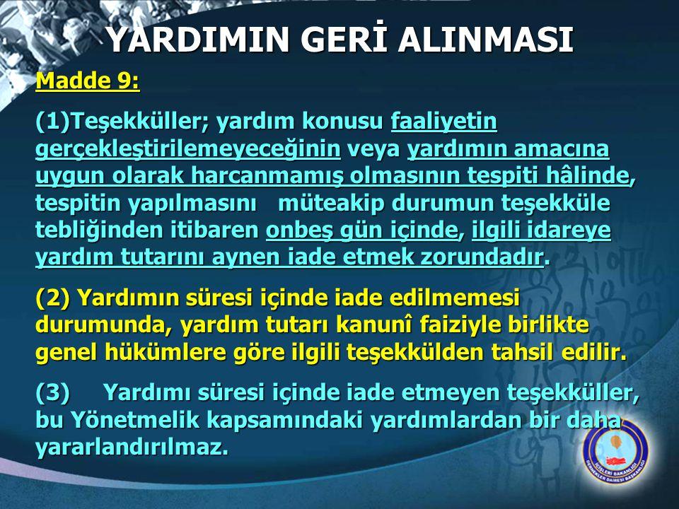 YARDIMIN GERİ ALINMASI