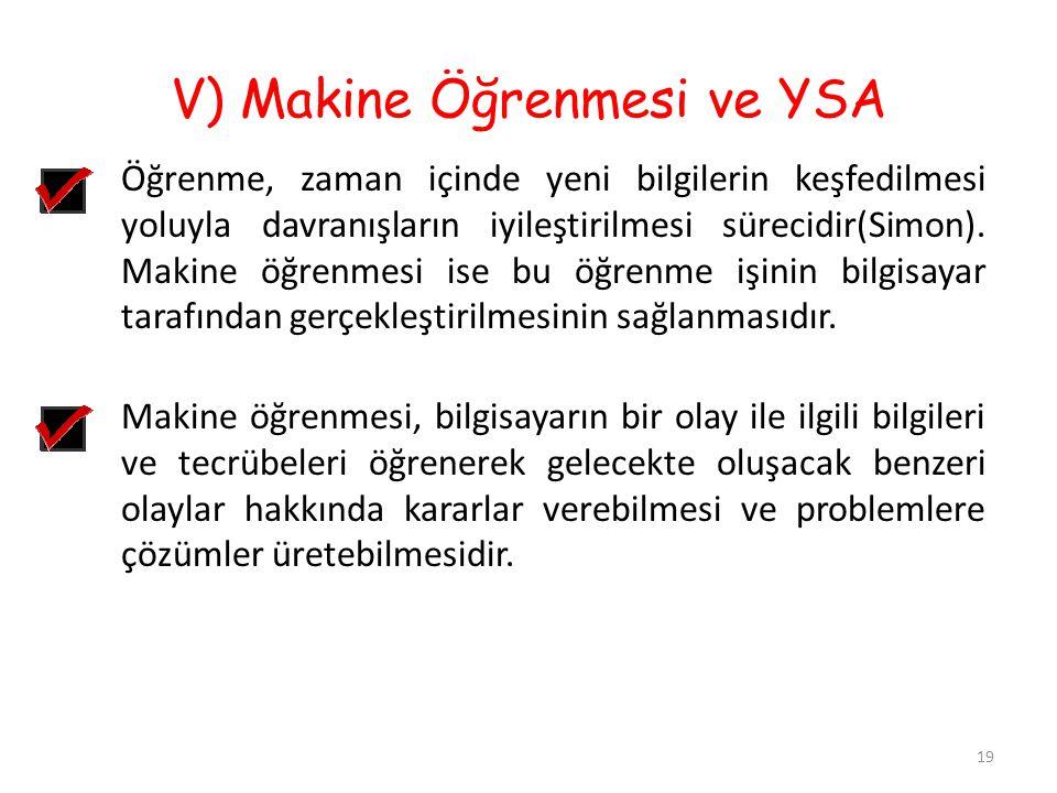 V) Makine Öğrenmesi ve YSA