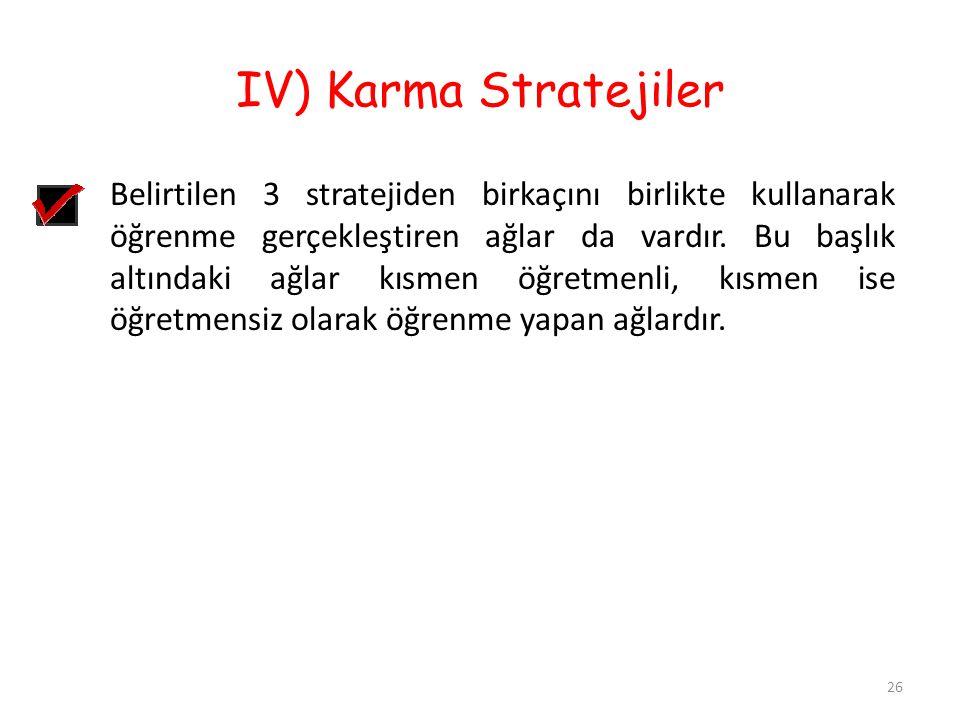 IV) Karma Stratejiler