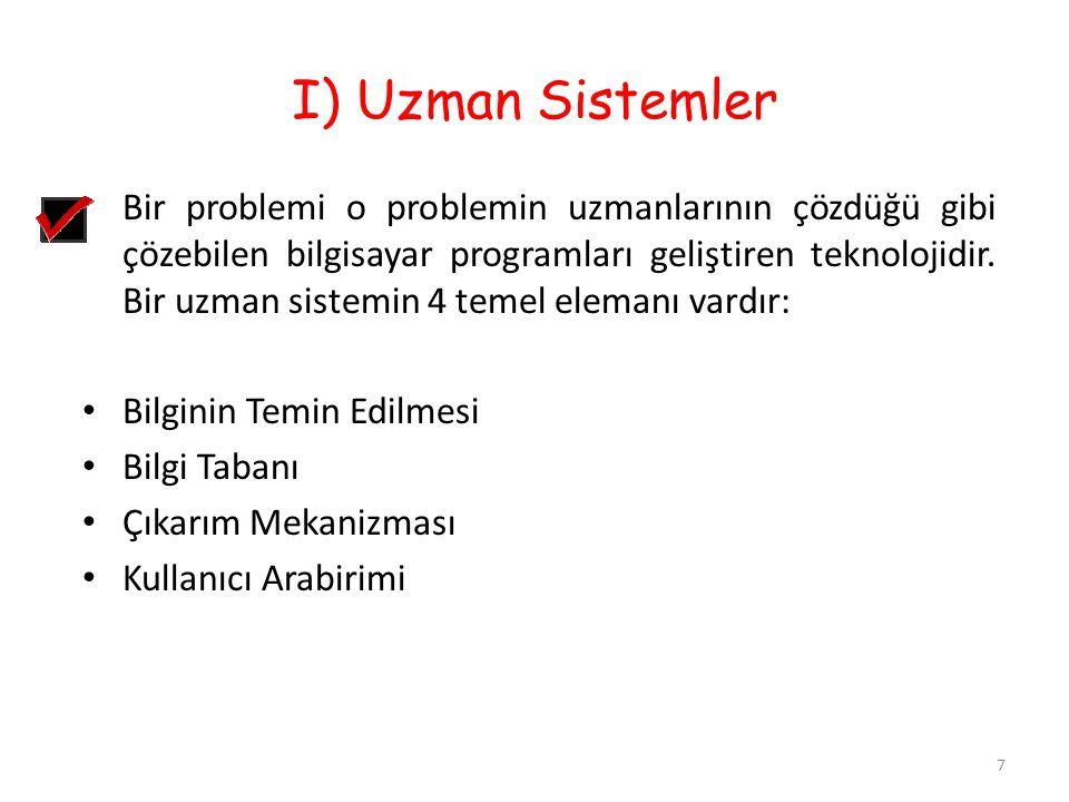 I) Uzman Sistemler