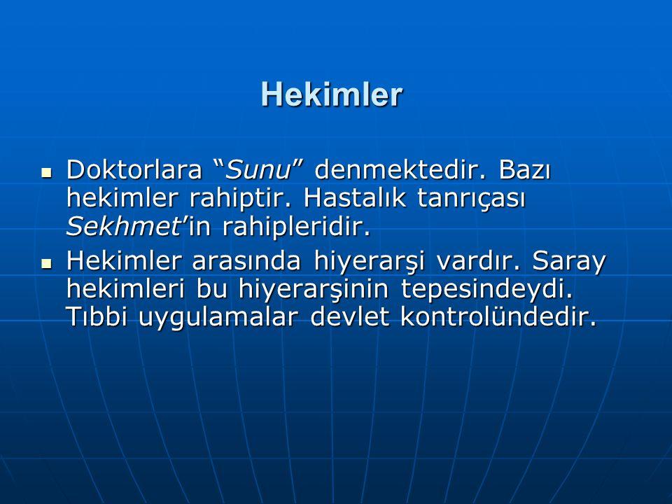 Hekimler Doktorlara Sunu denmektedir. Bazı hekimler rahiptir. Hastalık tanrıçası Sekhmet'in rahipleridir.