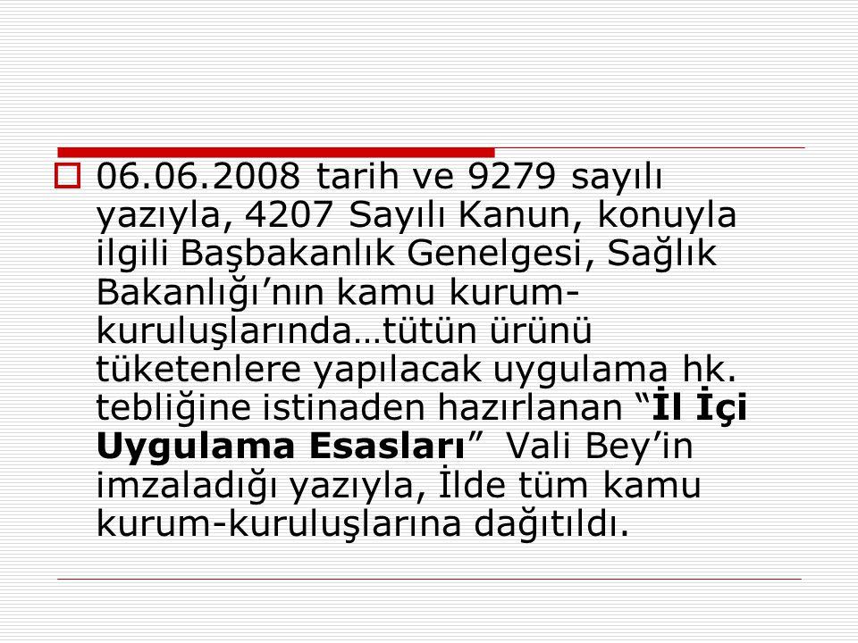 06.06.2008 tarih ve 9279 sayılı yazıyla, 4207 Sayılı Kanun, konuyla ilgili Başbakanlık Genelgesi, Sağlık Bakanlığı'nın kamu kurum-kuruluşlarında…tütün ürünü tüketenlere yapılacak uygulama hk.