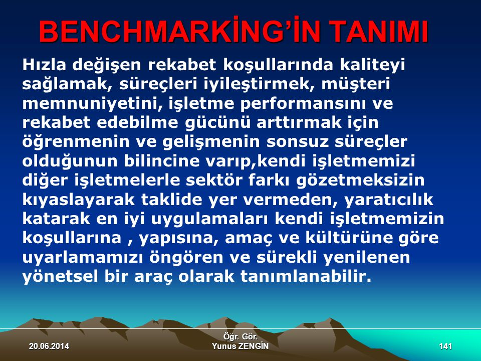 BENCHMARKİNG'İN TANIMI