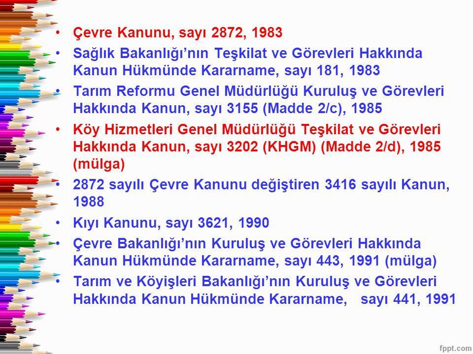 Çevre Kanunu, sayı 2872, 1983 Sağlık Bakanlığı'nın Teşkilat ve Görevleri Hakkında Kanun Hükmünde Kararname, sayı 181, 1983.