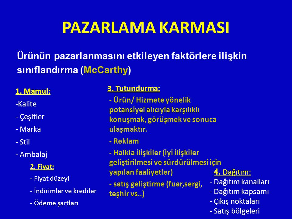 PAZARLAMA KARMASI Ürünün pazarlanmasını etkileyen faktörlere ilişkin sınıflandırma (McCarthy) 1. Mamul:
