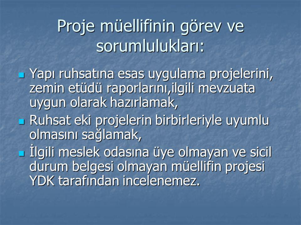 Proje müellifinin görev ve sorumlulukları: