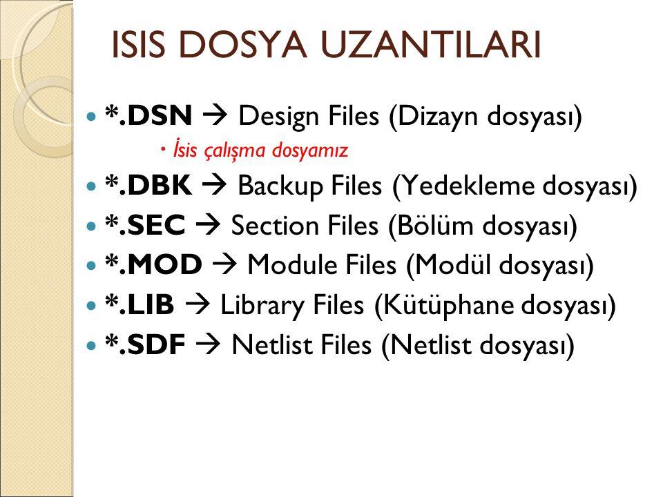 ISIS DOSYA UZANTILARI *.DSN  Design Files (Dizayn dosyası)