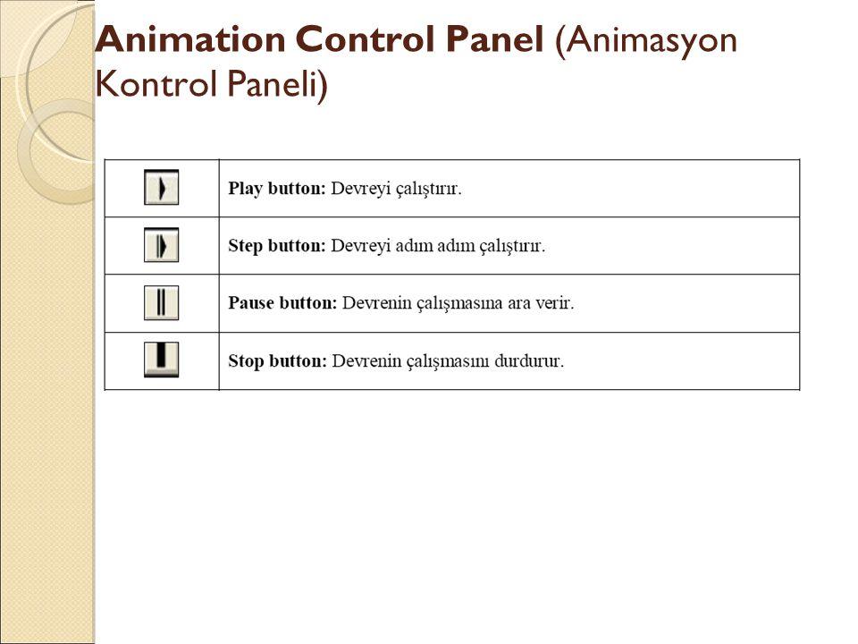 Animation Control Panel (Animasyon Kontrol Paneli)