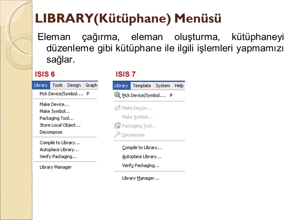 LIBRARY(Kütüphane) Menüsü