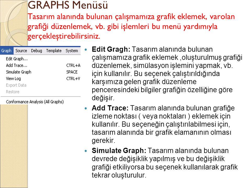 GRAPHS Menüsü Tasarım alanında bulunan çalışmamıza grafik eklemek, varolan grafiği düzenlemek, vb. gibi işlemleri bu menü yardımıyla gerçekleştirebilirsiniz.