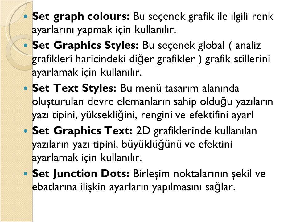 Set graph colours: Bu seçenek grafik ile ilgili renk ayarlarını yapmak için kullanılır.