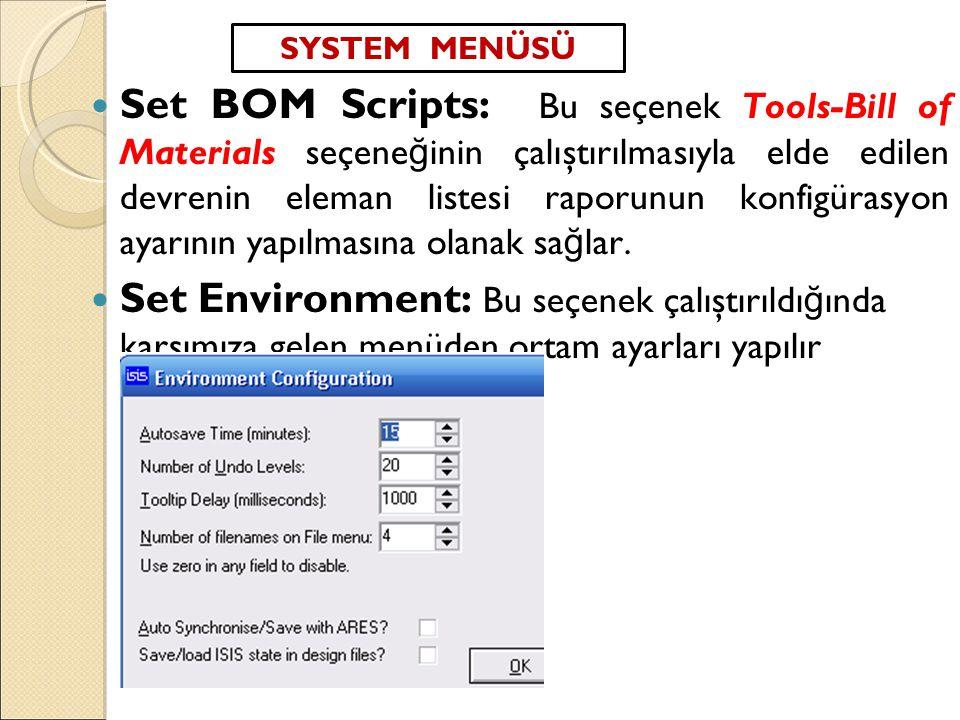 SYSTEM MENÜSÜ