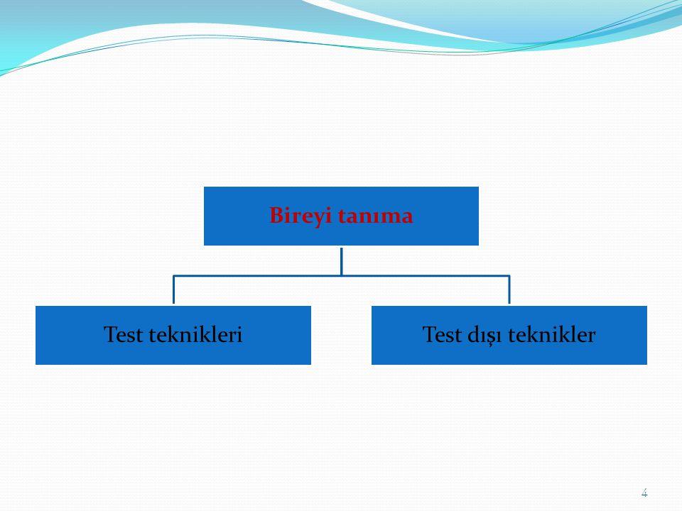 Bireyi tanıma Test teknikleri Test dışı teknikler