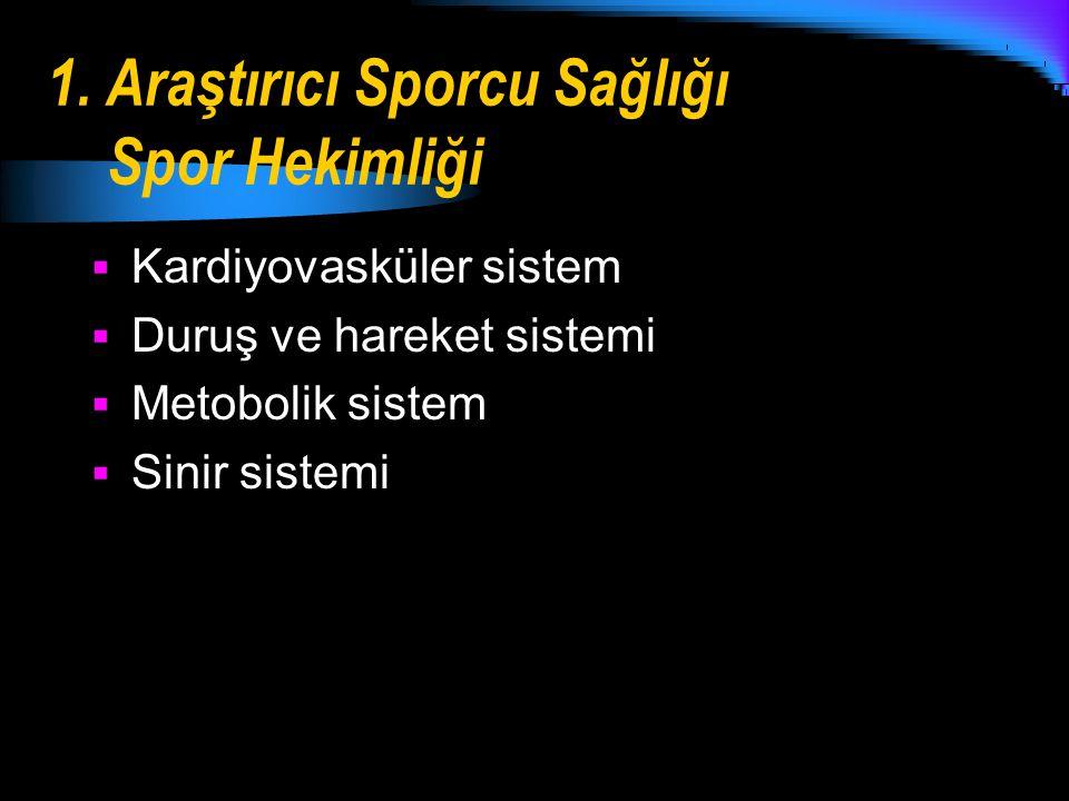 1. Araştırıcı Sporcu Sağlığı Spor Hekimliği
