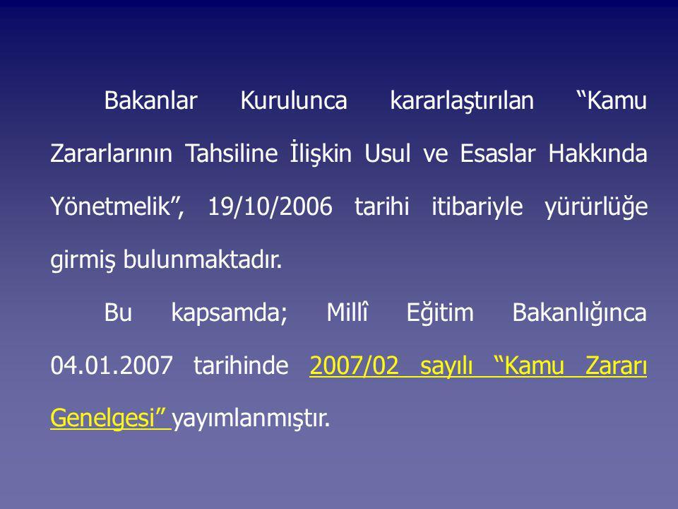 Bakanlar Kurulunca kararlaştırılan Kamu Zararlarının Tahsiline İlişkin Usul ve Esaslar Hakkında Yönetmelik , 19/10/2006 tarihi itibariyle yürürlüğe girmiş bulunmaktadır.
