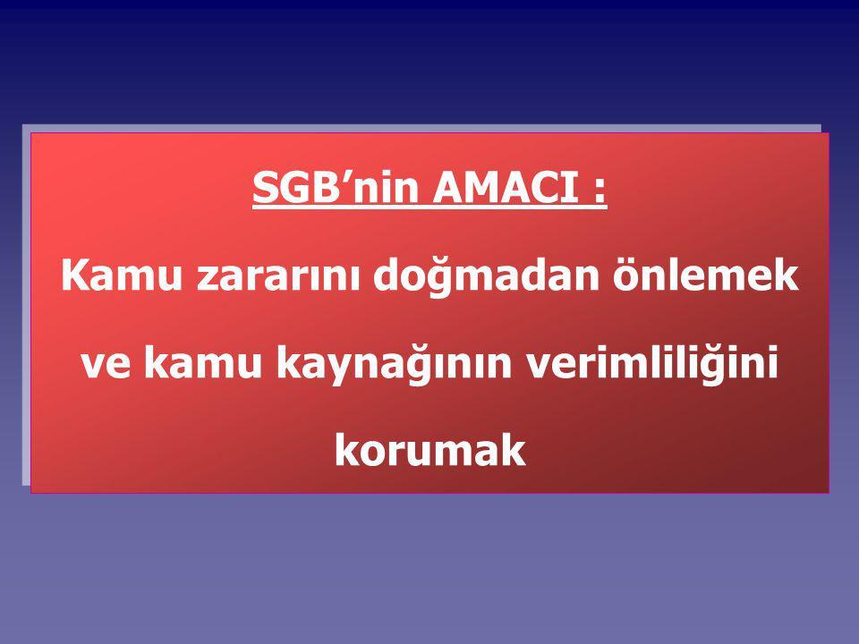 SGB'nin AMACI : Kamu zararını doğmadan önlemek ve kamu kaynağının verimliliğini korumak
