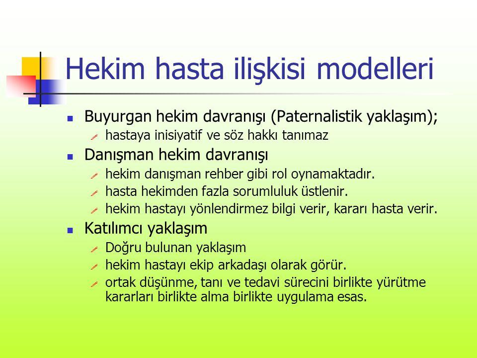 Hekim hasta ilişkisi modelleri