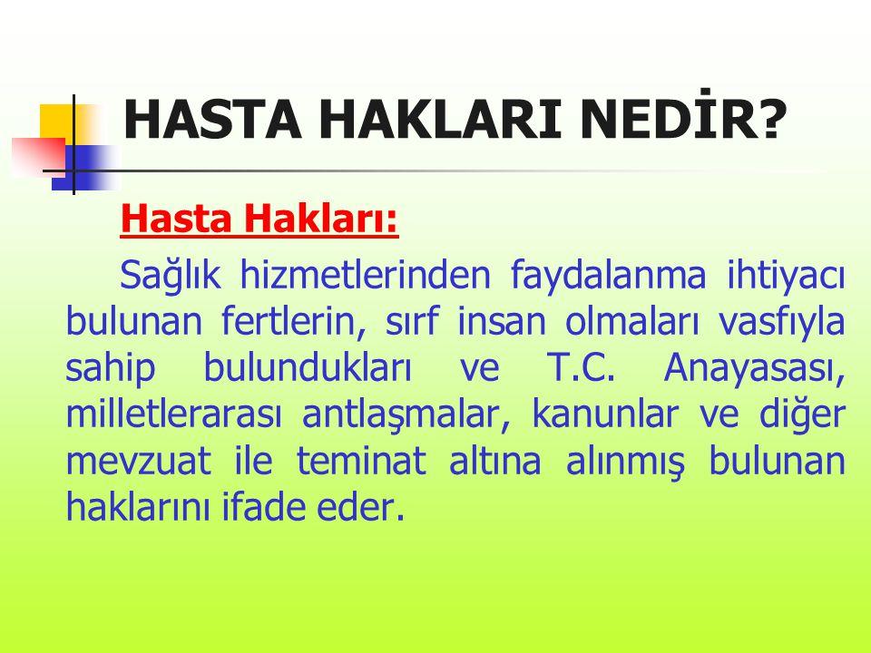 HASTA HAKLARI NEDİR Hasta Hakları: