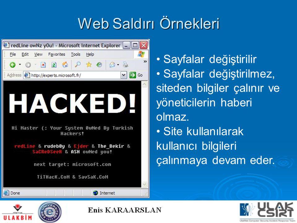 Web Saldırı Örnekleri Sayfalar değiştirilir