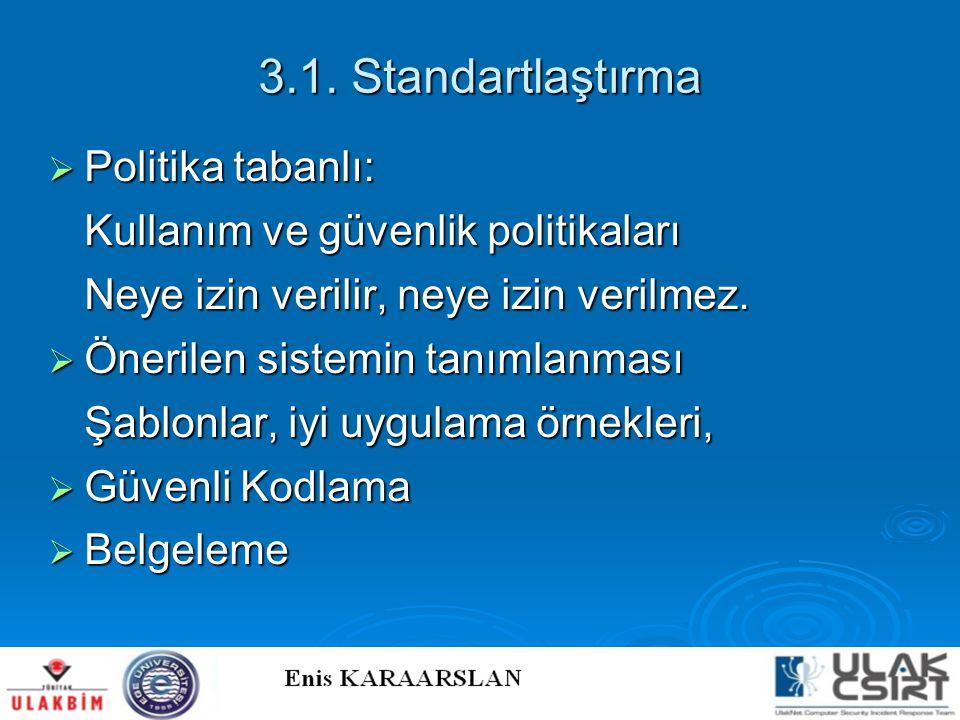 3.1. Standartlaştırma Politika tabanlı: