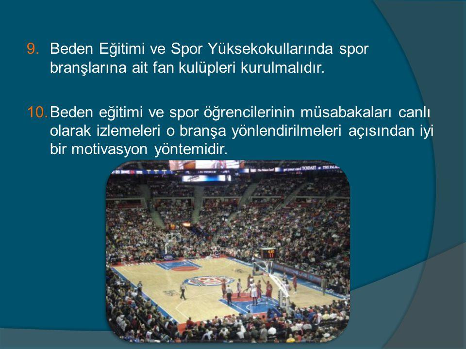 Beden Eğitimi ve Spor Yüksekokullarında spor branşlarına ait fan kulüpleri kurulmalıdır.