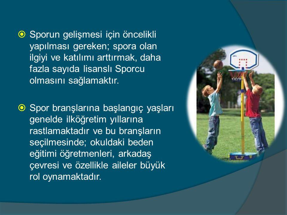 Sporun gelişmesi için öncelikli yapılması gereken; spora olan ilgiyi ve katılımı arttırmak, daha fazla sayıda lisanslı Sporcu olmasını sağlamaktır.