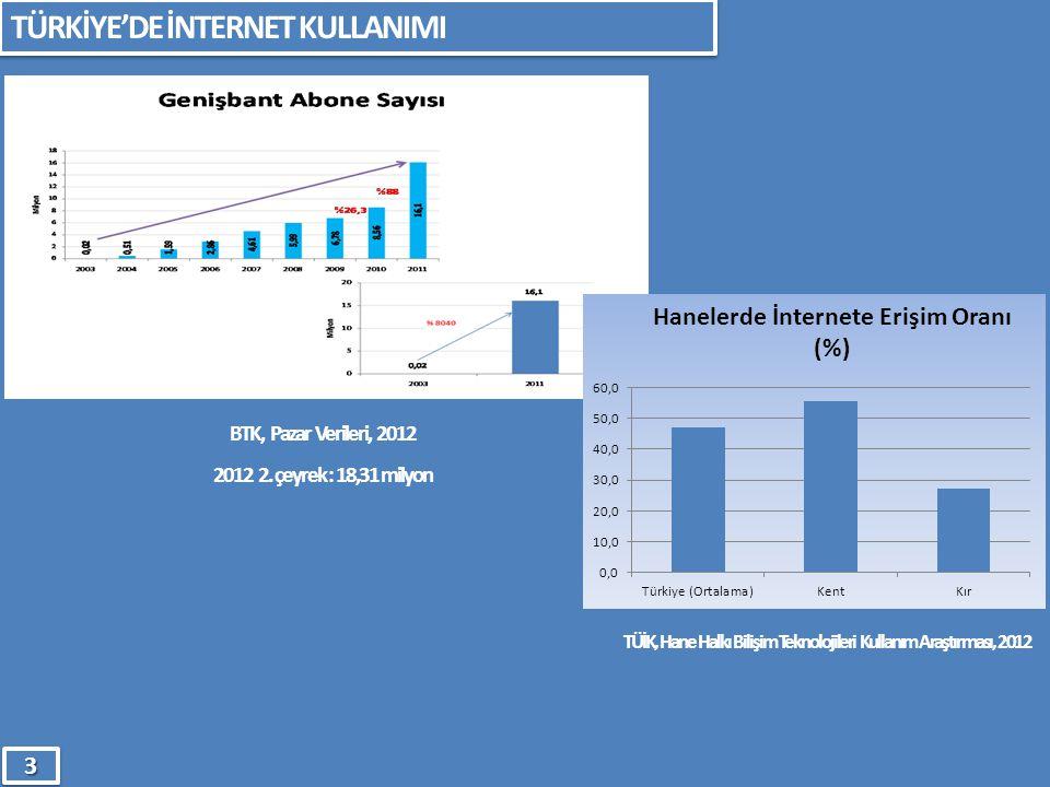TÜİK, Hane Halkı Bilişim Teknolojileri Kullanım Araştırması, 2012