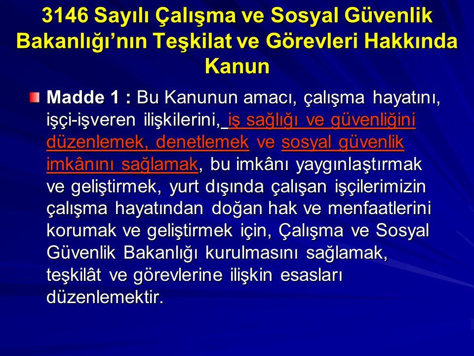 3146 Sayılı Çalışma ve Sosyal Güvenlik Bakanlığı'nın Teşkilat ve Görevleri Hakkında Kanun