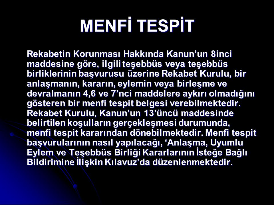 MENFİ TESPİT