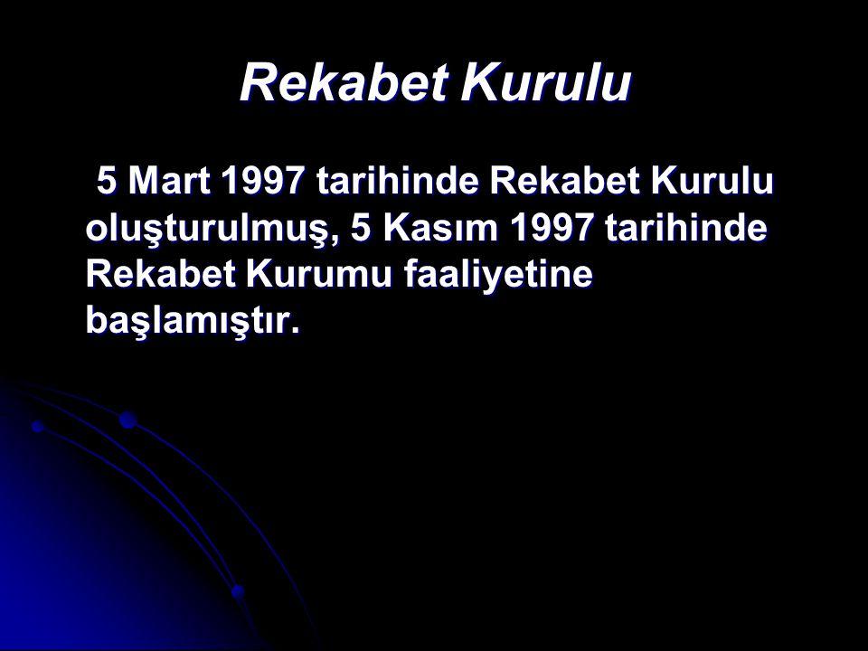 Rekabet Kurulu 5 Mart 1997 tarihinde Rekabet Kurulu oluşturulmuş, 5 Kasım 1997 tarihinde Rekabet Kurumu faaliyetine başlamıştır.