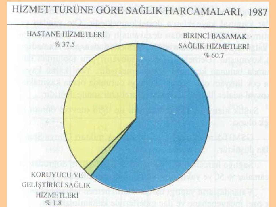 Şekil 7. Türkiye'de hizmet türüne göre sağlık harcamaları, 1987 (7)