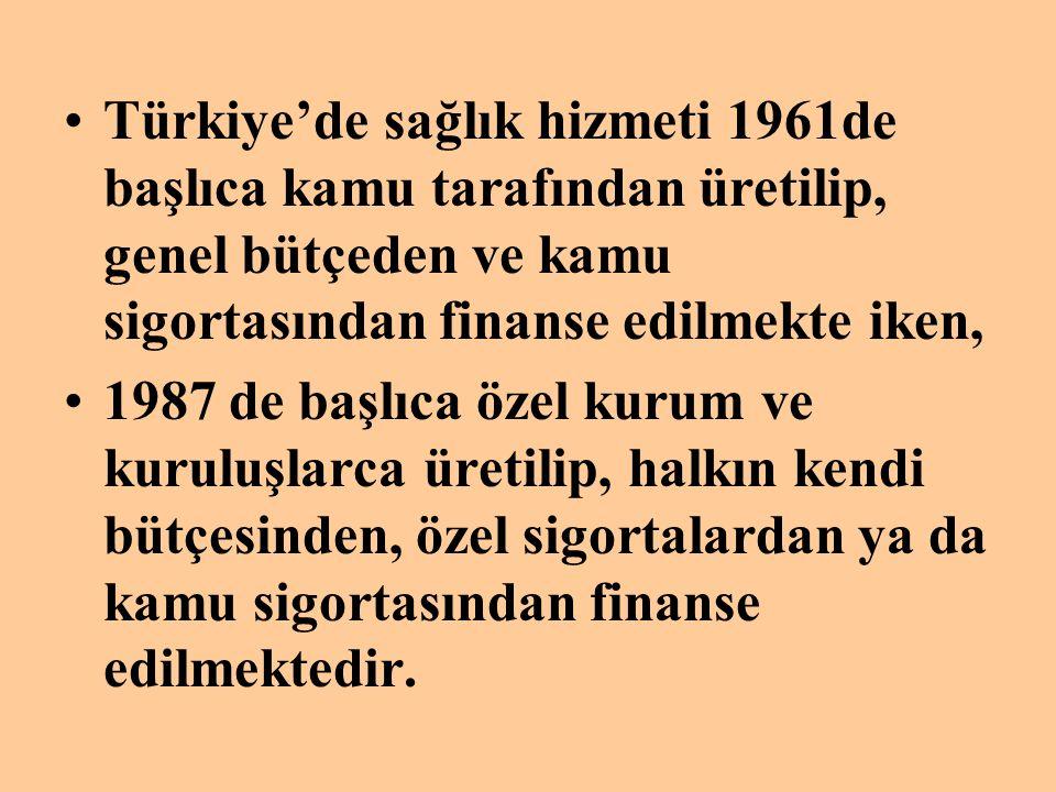 Türkiye'de sağlık hizmeti 1961de başlıca kamu tarafından üretilip, genel bütçeden ve kamu sigortasından finanse edilmekte iken,