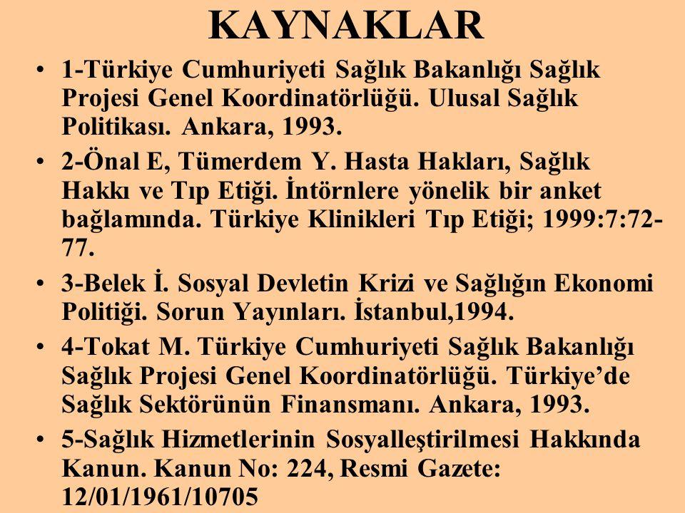 KAYNAKLAR 1-Türkiye Cumhuriyeti Sağlık Bakanlığı Sağlık Projesi Genel Koordinatörlüğü. Ulusal Sağlık Politikası. Ankara, 1993.