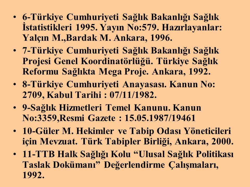 6-Türkiye Cumhuriyeti Sağlık Bakanlığı Sağlık İstatistikleri 1995