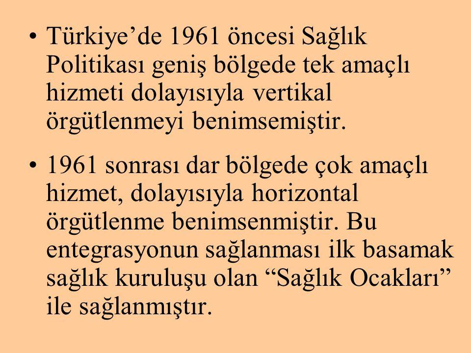 Türkiye'de 1961 öncesi Sağlık Politikası geniş bölgede tek amaçlı hizmeti dolayısıyla vertikal örgütlenmeyi benimsemiştir.