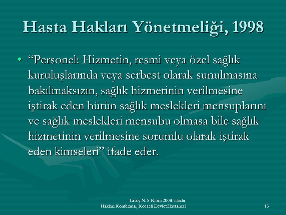 Hasta Hakları Yönetmeliği, 1998