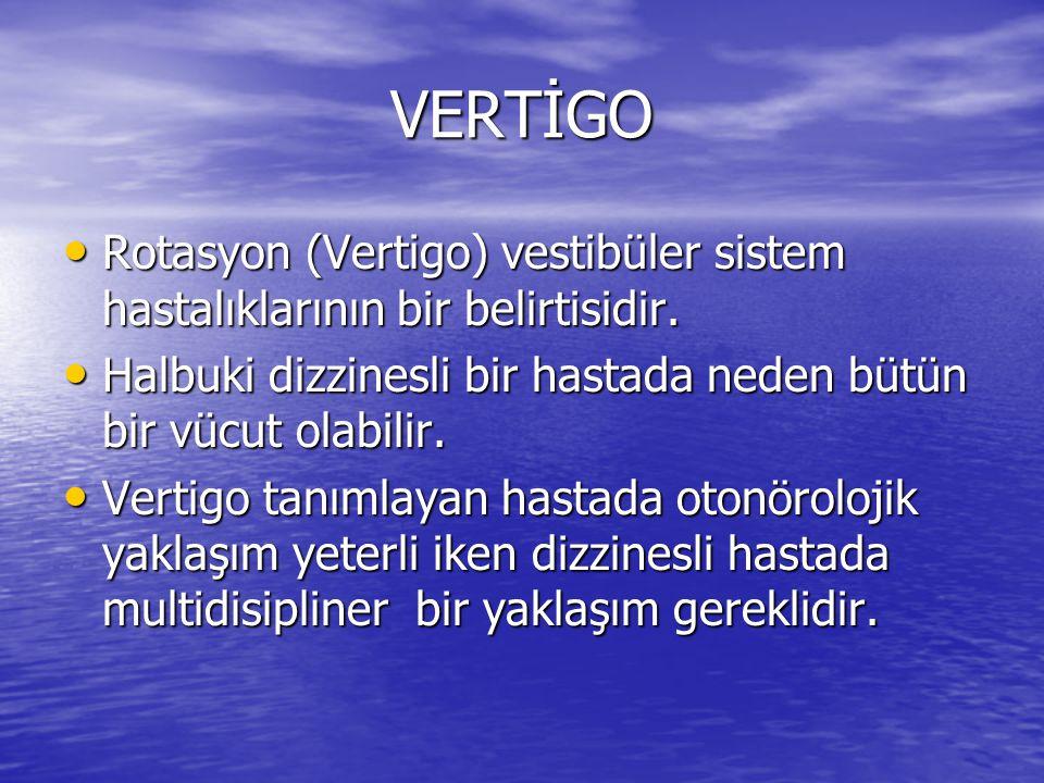 VERTİGO Rotasyon (Vertigo) vestibüler sistem hastalıklarının bir belirtisidir. Halbuki dizzinesli bir hastada neden bütün bir vücut olabilir.
