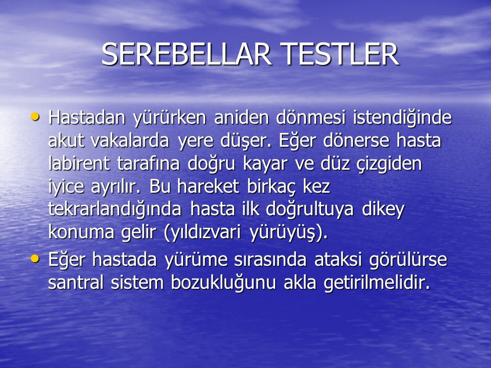SEREBELLAR TESTLER