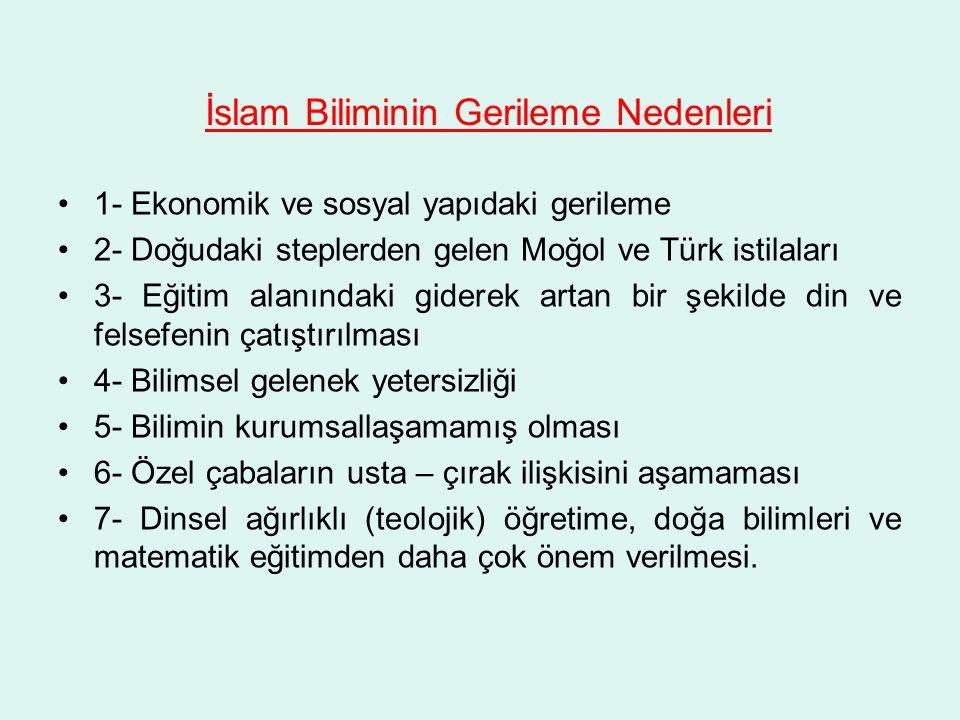 İslam Biliminin Gerileme Nedenleri