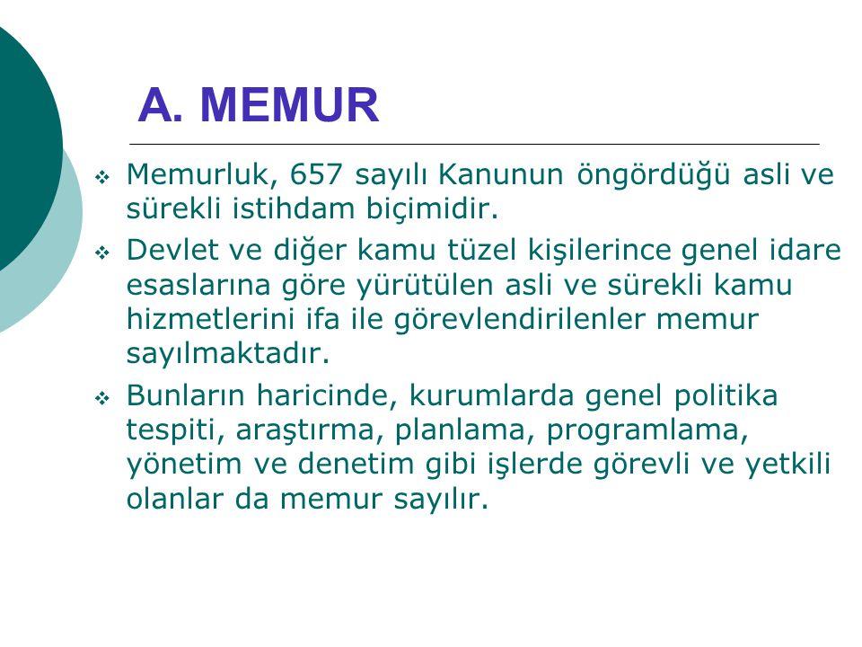 A. MEMUR Memurluk, 657 sayılı Kanunun öngördüğü asli ve sürekli istihdam biçimidir.