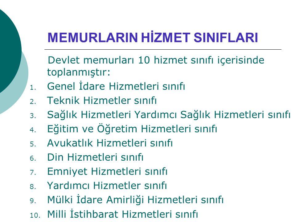 MEMURLARIN HİZMET SINIFLARI