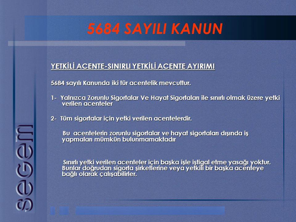 5684 SAYILI KANUN YETKİLİ ACENTE-SINIRLI YETKİLİ ACENTE AYIRIMI