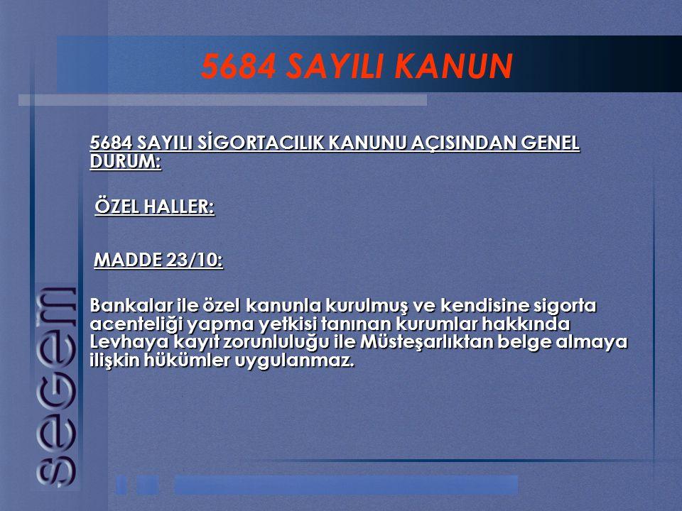5684 SAYILI KANUN ÖZEL HALLER: